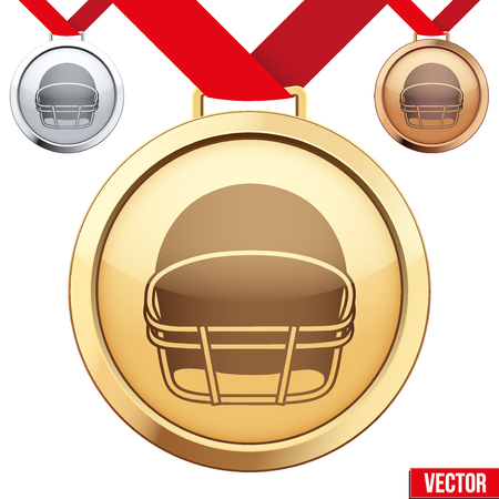 Three Medals with the symbol of american football inside. Gold, Silver and Bronze. Vector Illustration isolated on white background. Vector