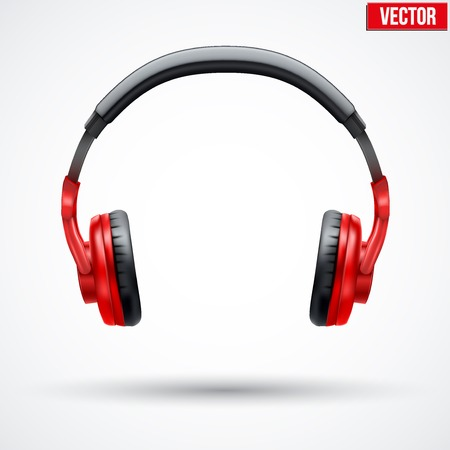 Realistic black Headphones. Vector Illustration Isolated on White Background Фото со стока - 35554966