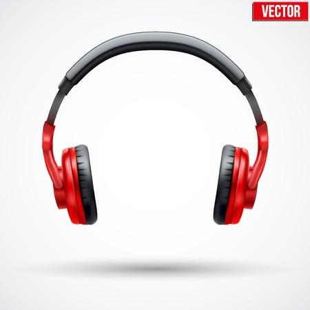 Realistic black Headphones. Vector Illustration Isolated on White Background
