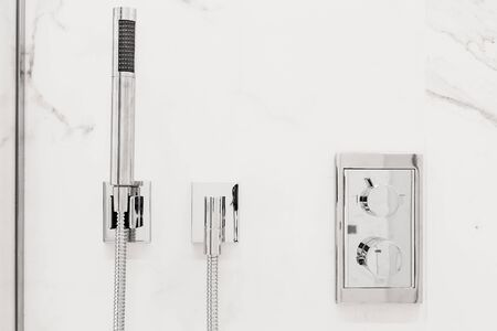 shower stall: Front view of Modern luxury bathroom fixtures and fittings