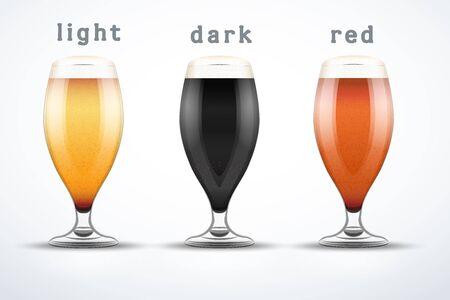 Beer mugs with three kind of beers.