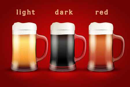 ale: Beer mugs with three kind of beers. Lager, Porter and Ale. Vector Illustration isolated on white background.