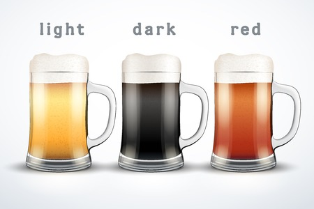 cerveza: Beer mugs with three kind of beers.