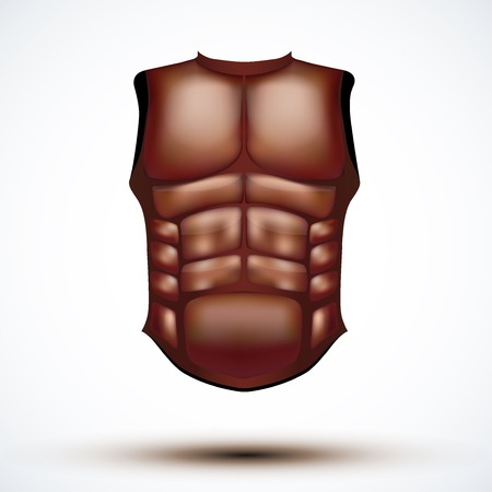 Brown leather ancient gladiator body armor. Illustration