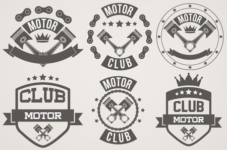 Set of Vintage Motor Club Signs and Label with chain and pistons.  Vector