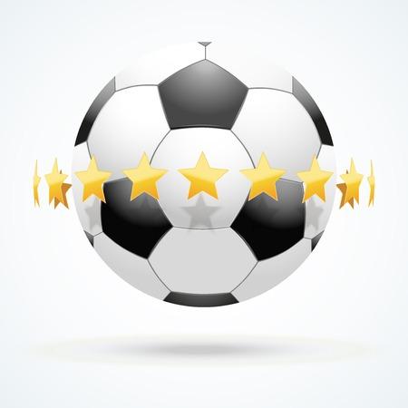 illustration of symbol football soccer ball with golden stars. Vector