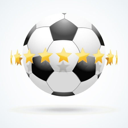 illustration of symbol football soccer ball with golden stars.