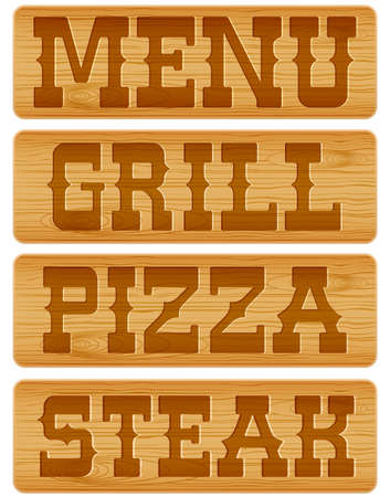 moulding: Nameplate of wood with words Menu Grill Steak Pizza.
