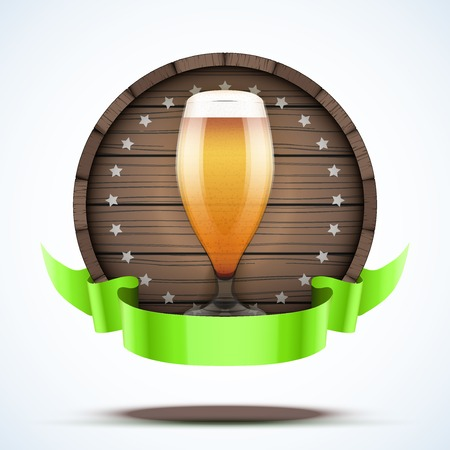 brewed: Label Beer barrel keg with beer glass and ribbon. Vector Illustration isolated on white background.