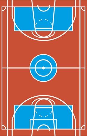 Sample of multisport field in a simple outline. Flat design. Vector illustration.
