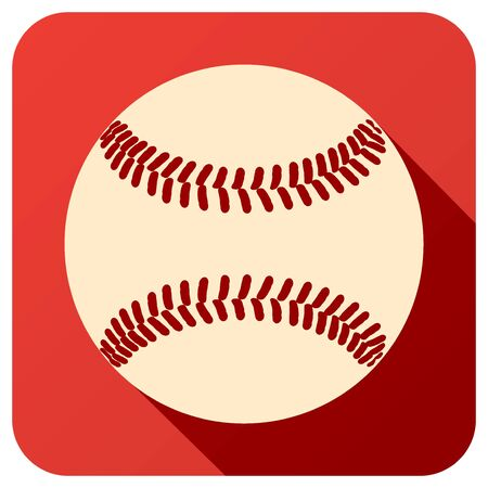 ball: Sport icon with baseball ball in flat style. Vector illustration isolated on white background.