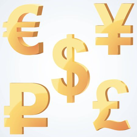 Golden Symbol Of Currency Dollar Euro Ruble Pound Yen Business