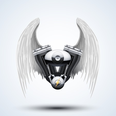 wingspan: Retro motorcycle engine with White folded wings. Vector Illustration Isolated on white background.