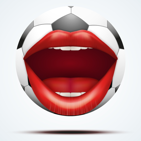 futball: Football ball with a talking female mouth. Vector illustration Isolated on white background.