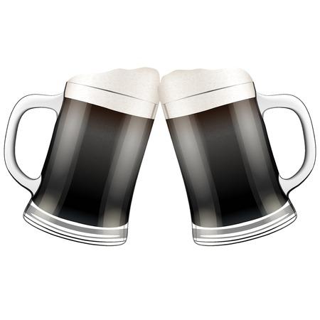 Vector Illustration Two dark beer glasses clink. For the menu, pubs, bars and restaurants. Illustration