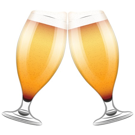 clink: Vector Illustration Two beer glasses clink. For the menu, pubs, bars and restaurants.