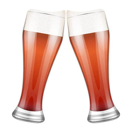 Vector red Illustration Two beer glasses clink. For the menu, pubs, bars and restaurants. Illustration