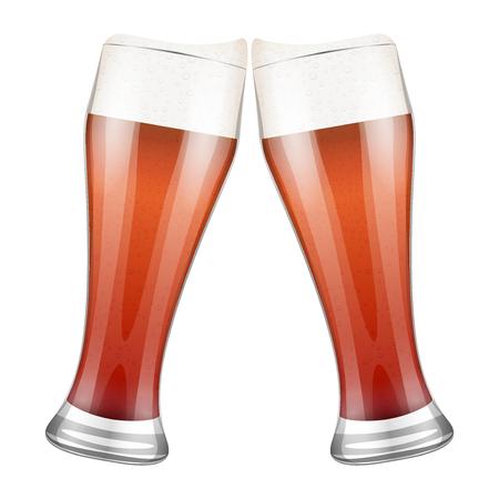 clink: Vector red Illustration Two beer glasses clink. For the menu, pubs, bars and restaurants. Illustration