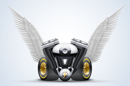 wingspan: Retro motorcycle engine with White open wings. Vector Illustration Isolated on white background.