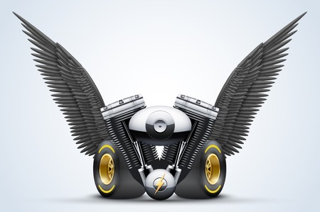 wingspan: Retro motorcycle engine with Black open wings. Vector Illustration Isolated on white background.
