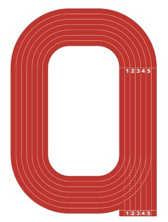 Beispielleichtathletikbahn Feld in einer einfachen Überblick. Flache Bauweise. Vektor-Illustration.