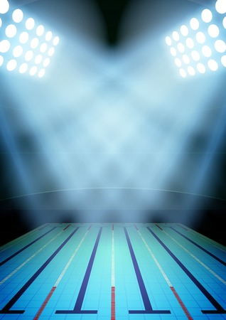 Vertical Background for posters night swimming pool stadium in the spotlight. Editable Vector Illustration. Stock Illustratie