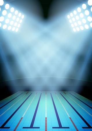 Verticale Achtergrond voor posters nacht zwembad stadion in de schijnwerpers. Bewerkbare vector illustratie.