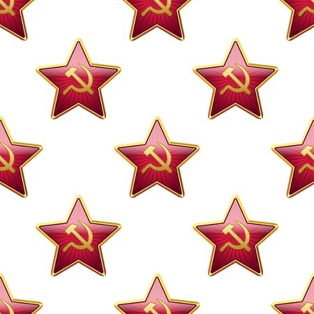 hammer and sickle: Universal vector badge Soviet Union stars seamless patterns tiling. Russian theme with balls.