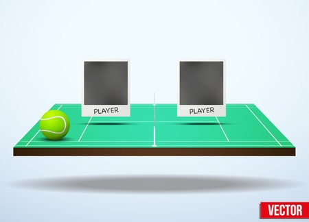 Background concept participants playing tennis. In three-dimensional space. Vector illustration. Illustration