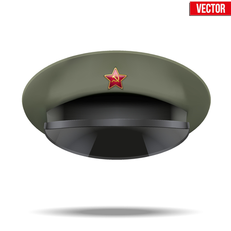 peaked: Russian military officer peaked cap with red star on cockade. Vector Illuatrstion isolated on white background Illustration
