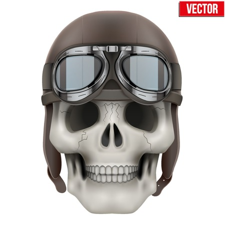 Human skull with retro aviator or biker helmet. Vector Illustration on isolated white background Vector