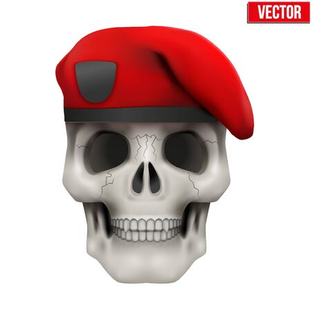 Human skull with Military maroon beret. Vector Illustration on isolated white background Illustration