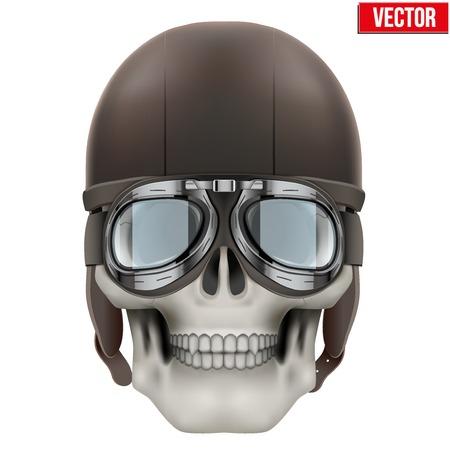 b0896c4f6b2fac  36979321 - Menselijke schedel met retro vlieger of biker helm. Vector  Illustratie op een witte achtergrond