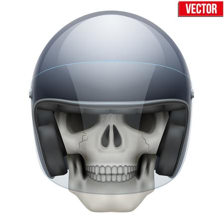 73c2c6591dc07d  36979572 - Menselijke schedel met retro motorrijder helm. Vector  Illustratie op een witte achtergrond