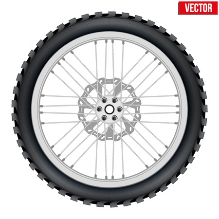 Motorbike enduro wheel with brake rotor and tire. Vector Illustration isolated on white background.