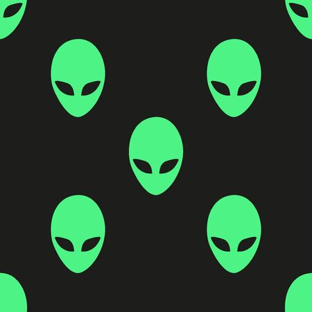 martians: Universal vector icons alien heads seamless patterns tiling.