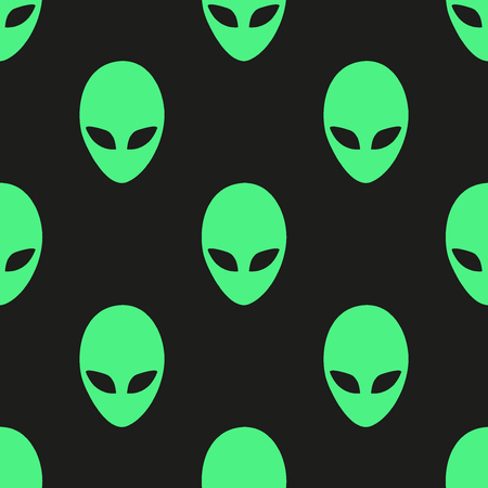 Universal vector icons alien heads seamless patterns tiling.