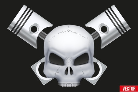 Creative symbol Human skull with engine pistons.  Illustration