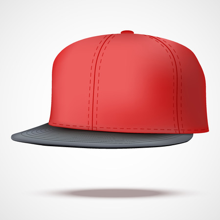 peak hat: Layout of Male color rap cap. A template simple example. Editable Vector Illustration isolated on white background. Illustration