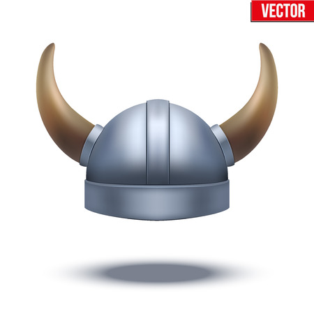 military helmet: Viking helmet with horns. Vector illustration isolated on white background.