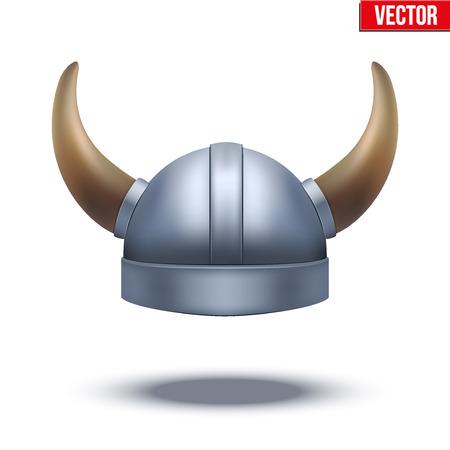 Viking helmet with horns. Vector illustration isolated on white background.