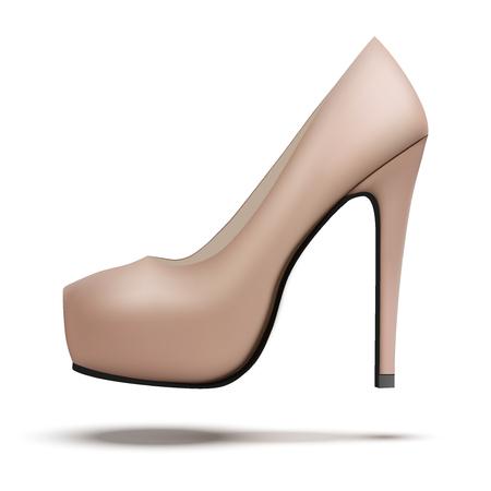 Beige vintage high heels pump shoes. Vector Illustration isolated on white background. Illusztráció