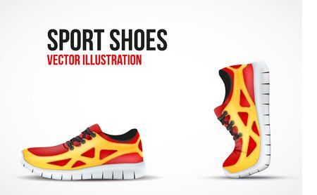personas corriendo: Antecedentes de Dos calzado para correr. Zapatillas deportivas brillantes símbolos. Ilustración del vector.