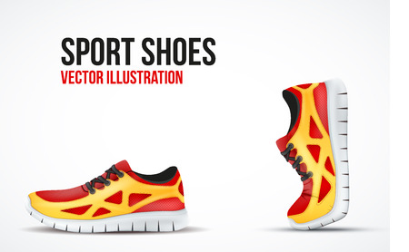 sale icon: Background of Two Running shoes. Bright Sport sneakers symbols. Vector illustration.