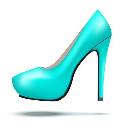 high heels: Azure bright modern high heels pump woman shoes. Vector Illustration isolated on white background.