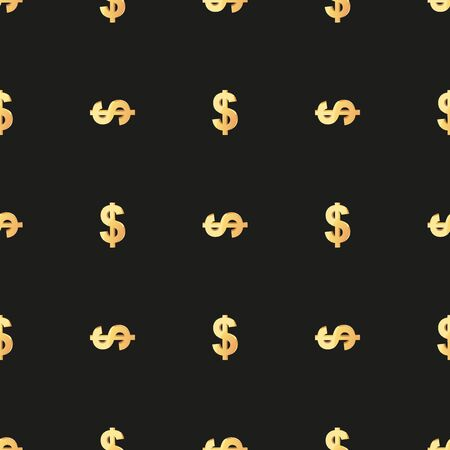 fills: Universal vector seamless patterns tiling. Finance theme with gold dollar symbol. Endless texture can be used for wrapper, cover, package, pattern fills, surface textures.