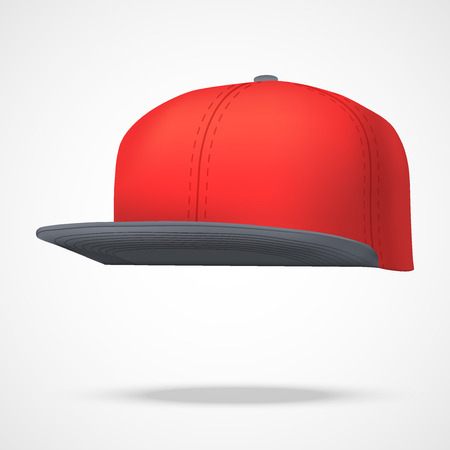 Layout of Male color rap cap. A template simple example. Editable Vector Illustration isolated on white background. Illustration