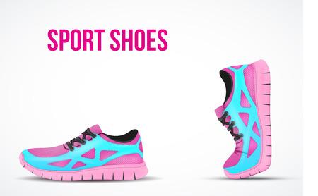 2 つを実行している靴の背景。明るいスポーツ スニーカーのシンボル。ベクトルの図。