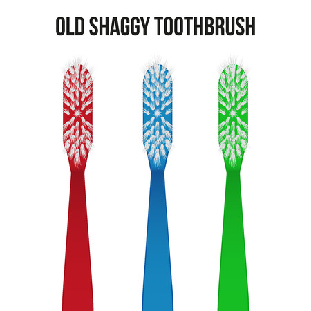 shaggy: Old shaggy used toothbrush. Vector Illustration on isolated white background