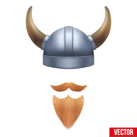 crusades: Viking symbol with horned helmet and beard. Vector illustration isolated on white background. Illustration